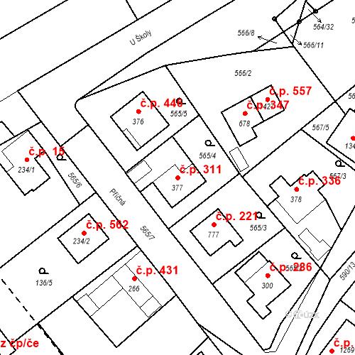 Katastrální mapa Stavební objekt Vrané nad Vltavou 311, Vrané nad Vltavou