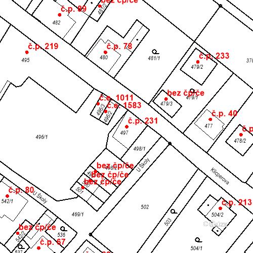 Katastrální mapa Stavební objekt Děčín XXXI-Křešice 231, Děčín