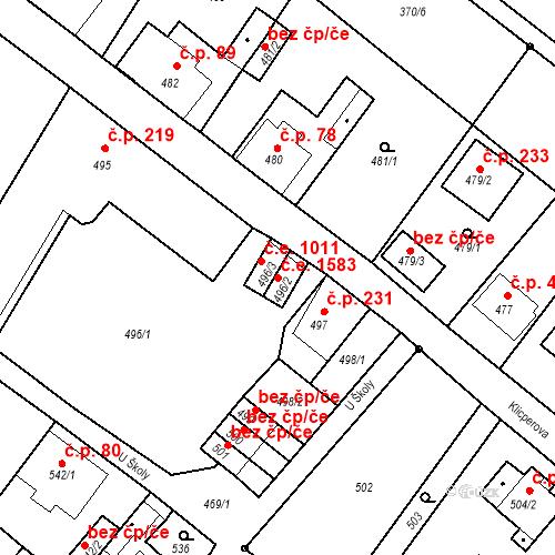Katastrální mapa Stavební objekt Děčín XXXI-Křešice 1583, Děčín