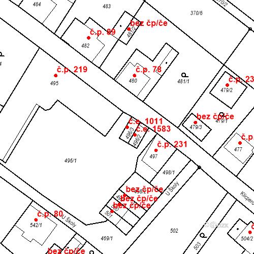 Katastrální mapa Stavební objekt Děčín XXXI-Křešice 1011, Děčín