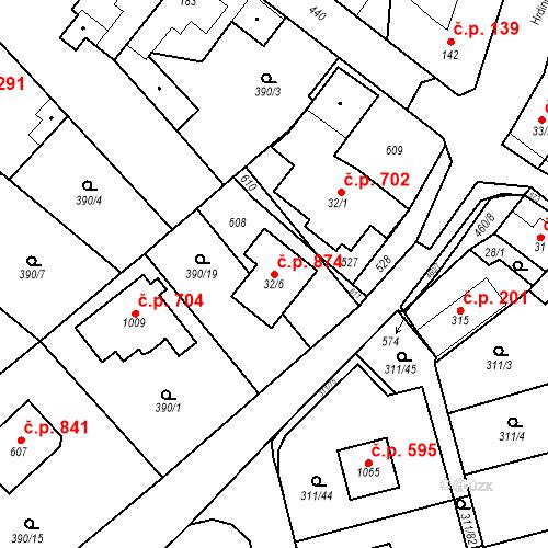 Katastrální mapa Stavební objekt Horoměřice 874, Horoměřice