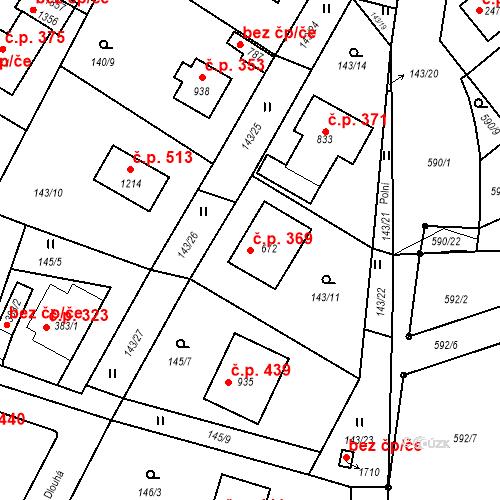 Katastrální mapa Stavební objekt Vrané nad Vltavou 369, Vrané nad Vltavou