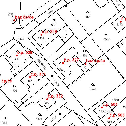 Katastrální mapa Stavební objekt Vrané nad Vltavou 327, Vrané nad Vltavou