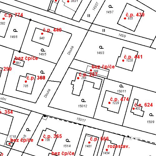 Katastrální mapa Stavební objekt Vrané nad Vltavou 257, Vrané nad Vltavou