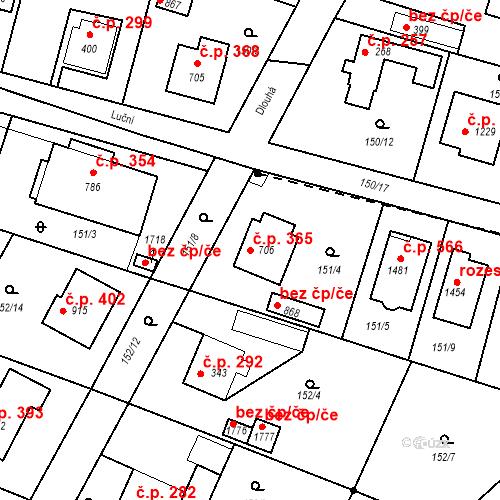 Katastrální mapa Stavební objekt Vrané nad Vltavou 365, Vrané nad Vltavou