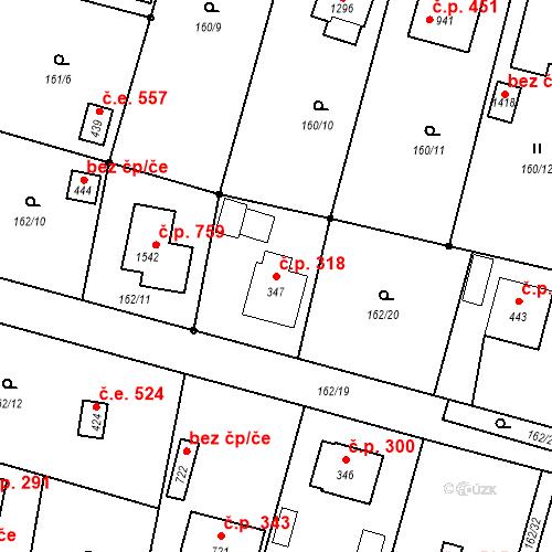 Katastrální mapa Stavební objekt Vrané nad Vltavou 318, Vrané nad Vltavou