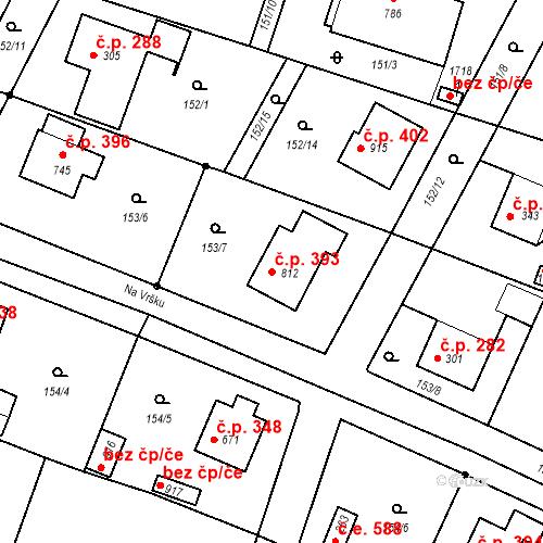 Katastrální mapa Stavební objekt Vrané nad Vltavou 393, Vrané nad Vltavou