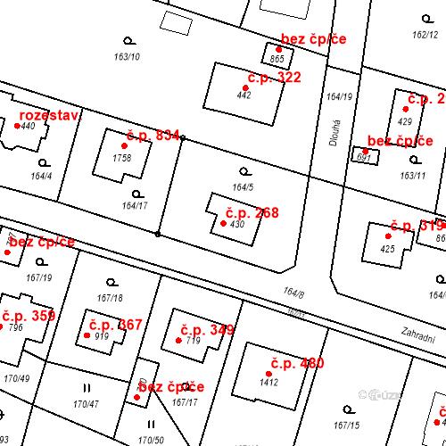 Katastrální mapa Stavební objekt Vrané nad Vltavou 268, Vrané nad Vltavou