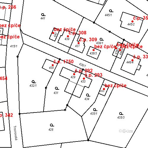 Katastrální mapa Stavební objekt Děčín XXXII-Boletice nad Labem 292, Děčín