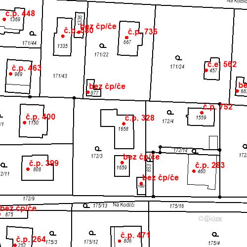 Katastrální mapa Stavební objekt Vrané nad Vltavou 328, Vrané nad Vltavou