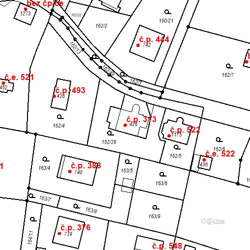 Katastrální mapa Stavební objekt Vrané nad Vltavou 313, Vrané nad Vltavou