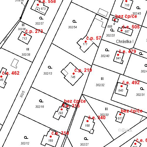 Katastrální mapa Stavební objekt Masečín 219, Štěchovice