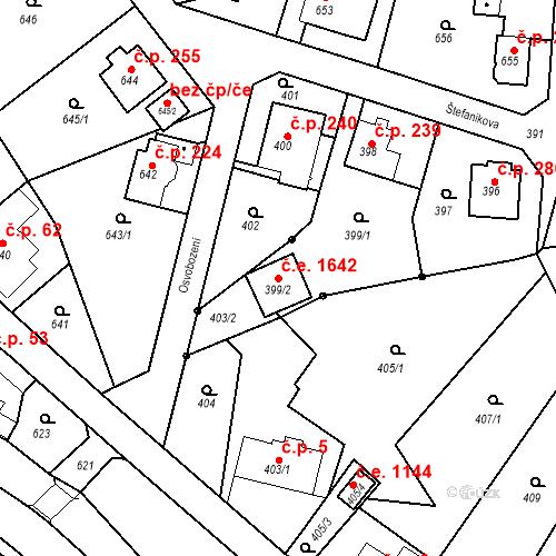 Katastrální mapa Stavební objekt Děčín XXXII-Boletice nad Labem 1642, Děčín