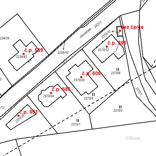 Katastrální mapa Stavební objekt Lipence 606, Praha
