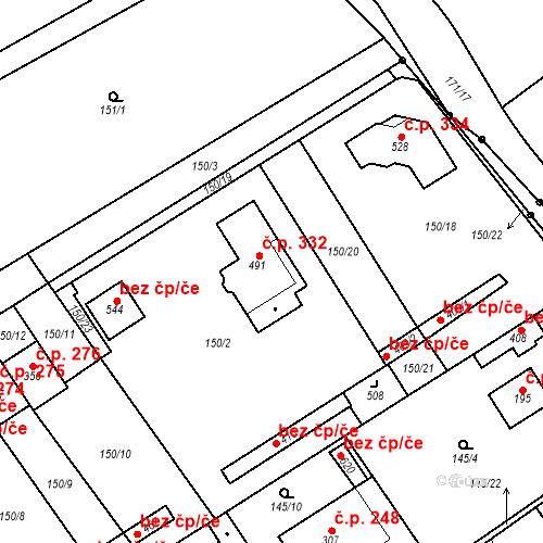 Katastrální mapa Stavební objekt Vědomice 332, Vědomice