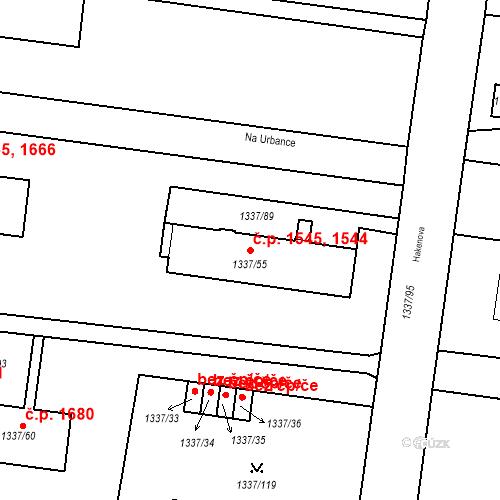 Katastrální mapa Stavební objekt Roudnice nad Labem 1544, 1545, Roudnice nad Labem