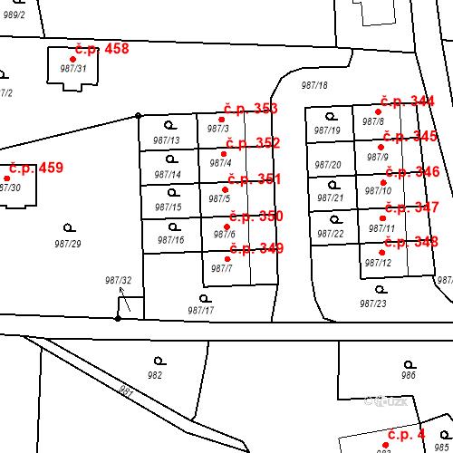 Katastrální mapa Stavební objekt Děčín XXXII-Boletice nad Labem 350, Děčín