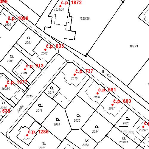 Katastrální mapa Stavební objekt Děčín VI-Letná 737, Děčín