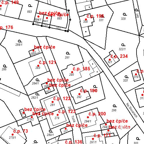 Katastrální mapa Stavební objekt Děčín XXXII-Boletice nad Labem 185, Děčín