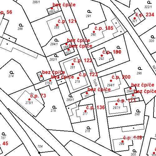 Katastrální mapa Stavební objekt Děčín XXXII-Boletice nad Labem 123, Děčín