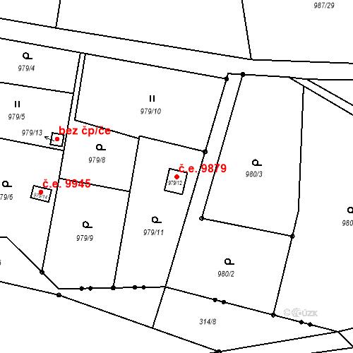 Katastrální mapa Stavební objekt Děčín XXXII-Boletice nad Labem 9879, Děčín