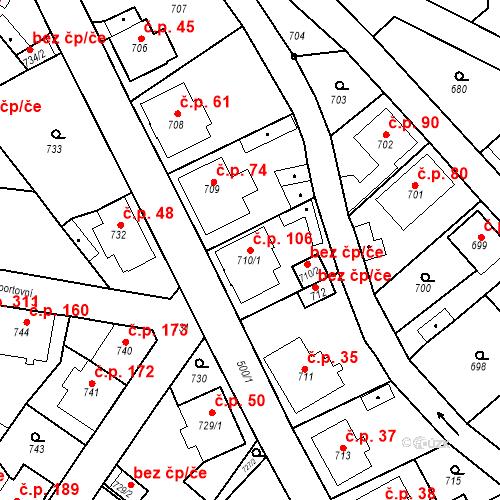 Katastrální mapa Stavební objekt Děčín XXXII-Boletice nad Labem 106, Děčín
