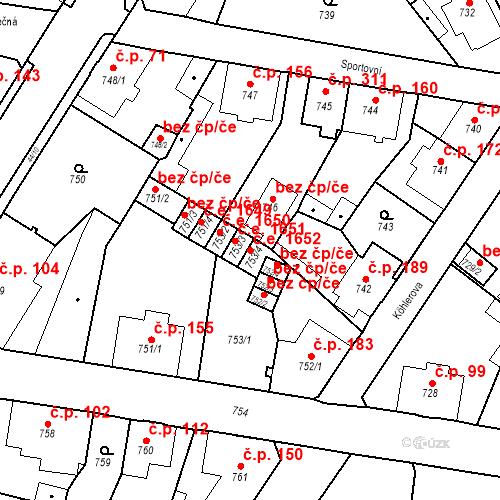 Katastrální mapa Stavební objekt Děčín XXXII-Boletice nad Labem 1652, Děčín