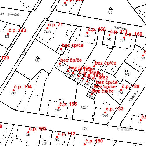 Katastrální mapa Stavební objekt Děčín XXXII-Boletice nad Labem 1649, Děčín