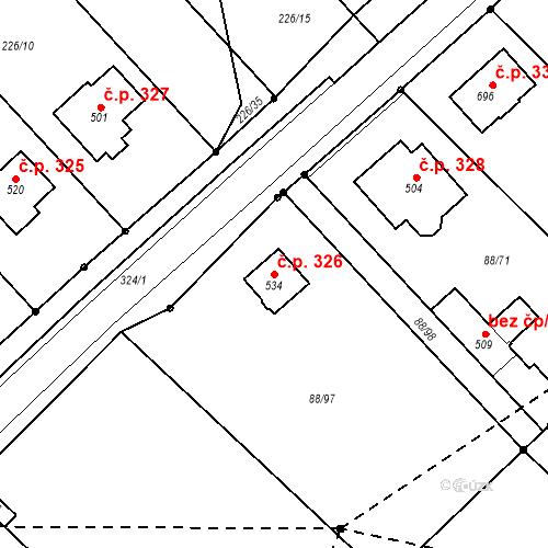 Katastrální mapa Stavební objekt Vědomice 326, Vědomice