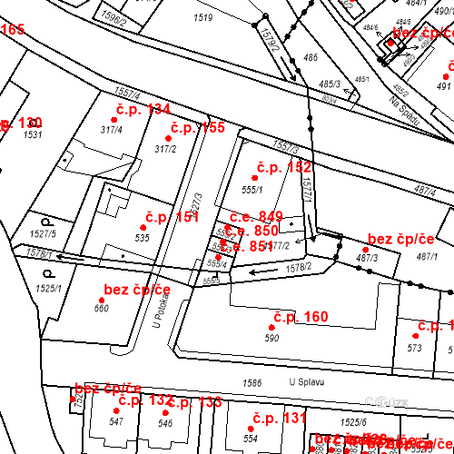 Katastrální mapa Stavební objekt Děčín VIII-Dolní Oldřichov 849, Děčín