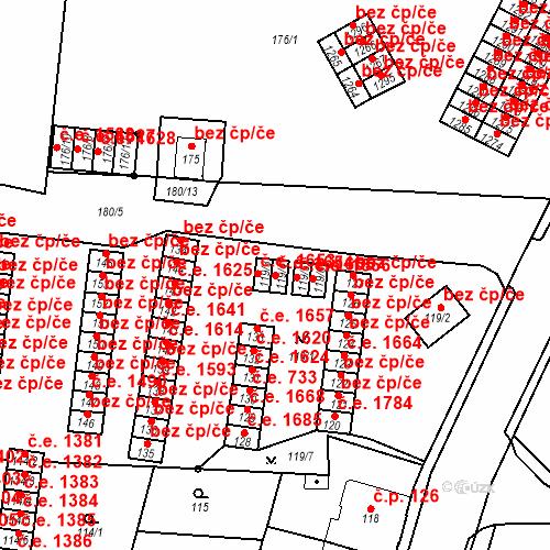 Katastrální mapa Stavební objekt Děčín XXXII-Boletice nad Labem 1654, Děčín