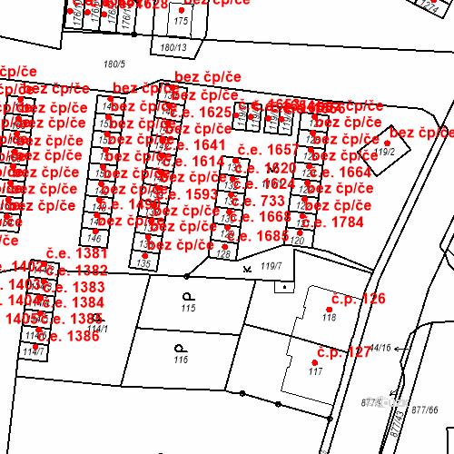 Katastrální mapa Stavební objekt Děčín XXXII-Boletice nad Labem 1668, Děčín