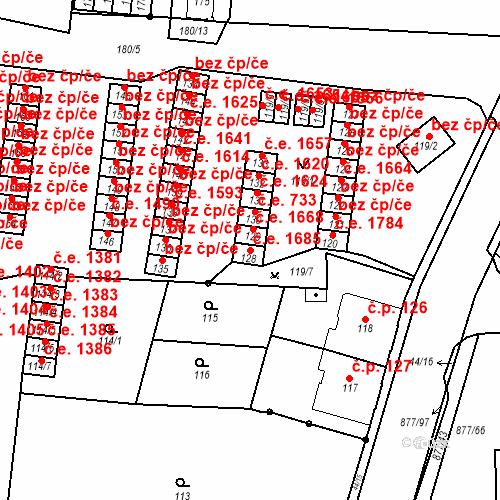 Katastrální mapa Stavební objekt Děčín XXXII-Boletice nad Labem 1685, Děčín