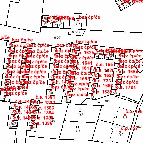 Katastrální mapa Stavební objekt Děčín XXXII-Boletice nad Labem 1614, Děčín