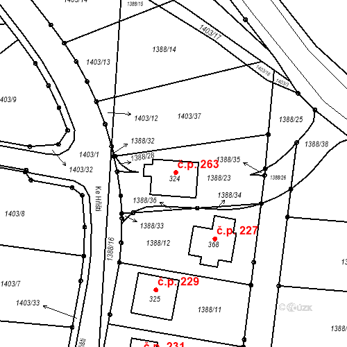 Katastrální mapa Stavební objekt Hlincová Hora 263, Hlincová Hora