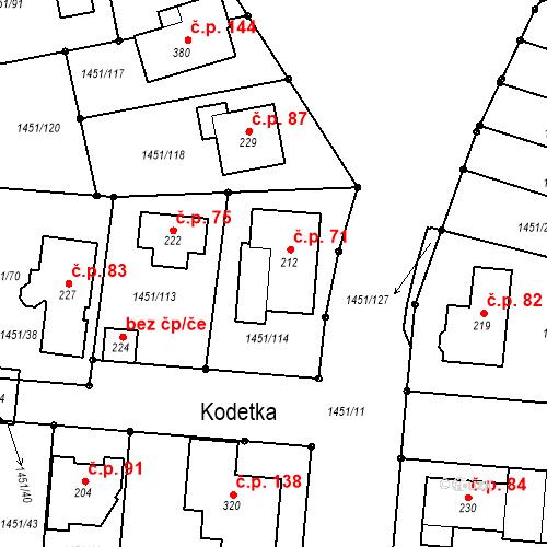 Katastrální mapa Stavební objekt Hlincová Hora 71, Hlincová Hora