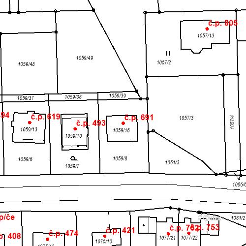 Katastrální mapa Stavební objekt Rudolfov 691, Rudolfov