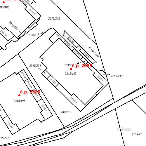 Katastrální mapa Stavební objekt Stodůlky 2688, Praha