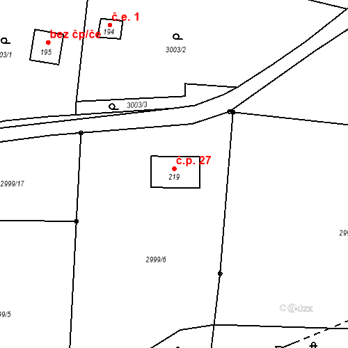 Katastrální mapa Stavební objekt Vlkov 27, Vlkov