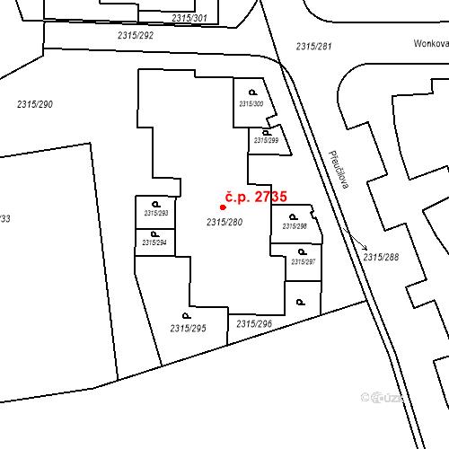 Katastrální mapa Stavební objekt Stodůlky 2735, Praha