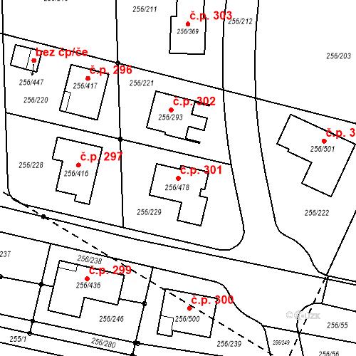 Katastrální mapa Stavební objekt Adamov 301, Adamov