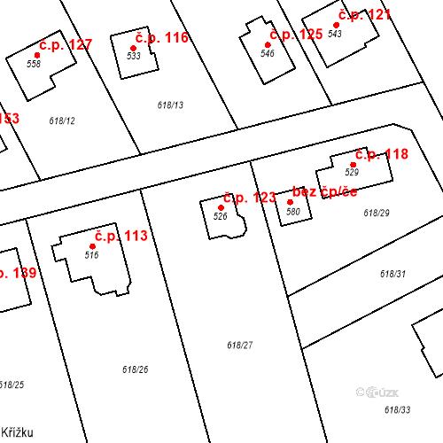 Katastrální mapa Stavební objekt Čím 123, Čím