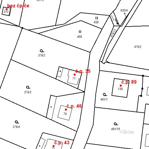 Katastrální mapa Stavební objekt Malšovice 35, Malšovice