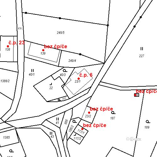 Katastrální mapa Stavební objekt Borek 6, Malšovice