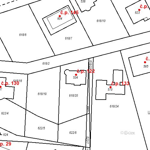 Katastrální mapa Stavební objekt Čím 122, Čím