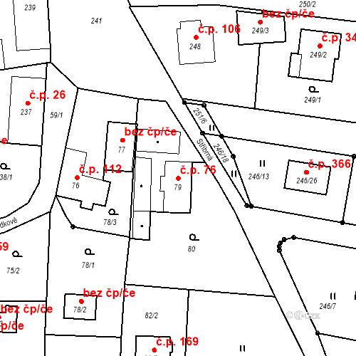 Katastrální mapa Stavební objekt Adamov 76, Adamov