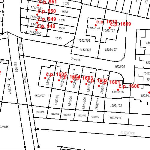 Katastrální mapa Stavební objekt Řepy 1603, Praha