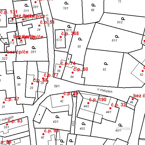 Katastrální mapa Stavební objekt Adamov 50, Adamov