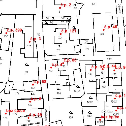 Katastrální mapa Stavební objekt Adamov 80, Adamov
