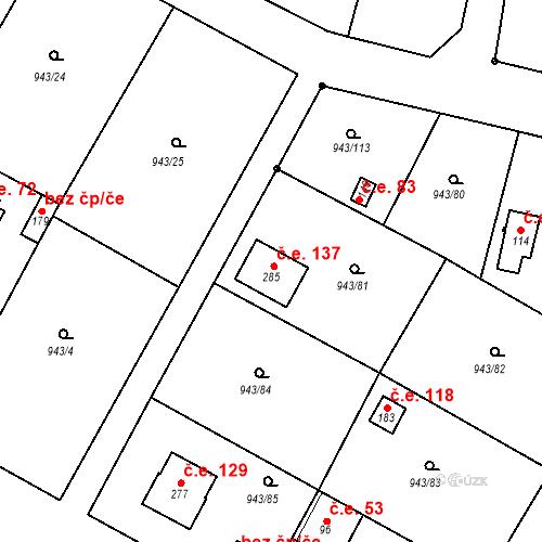 Katastrální mapa Stavební objekt Bežerovice 137, Sudoměřice u Bechyně
